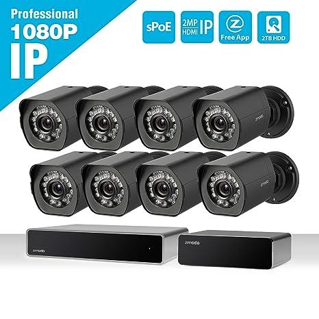 Zmodo 8 canal HDMI NVR 1080P HD 8 exterior Cámara de seguridad de red IP Juego