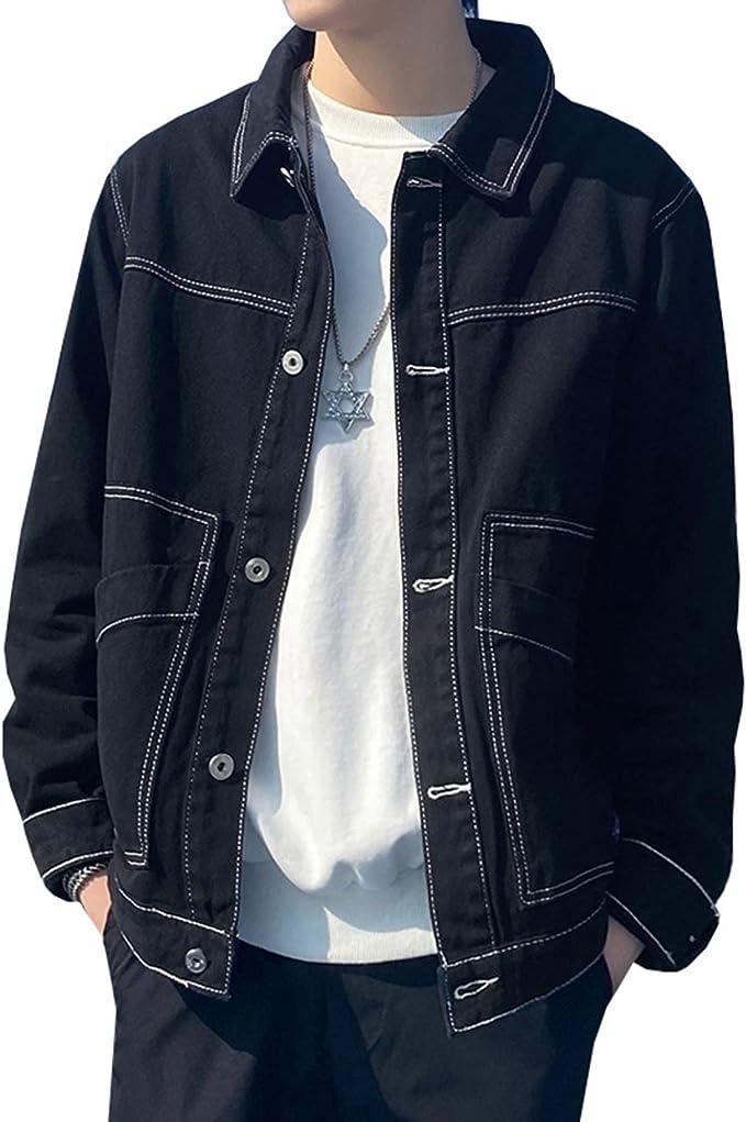 Gジャン デニムジャケット メンズ 日系 ファッション シンプル かっこいい 春秋 防風 防寒 ジージャン 大きいサイズ ゆったり ストレッチ 快適 合わせやすい 無地 ブラック/ホワイト S-4XL