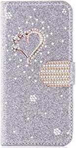 XYX Wallet Case for iPhone 6 Plus/iPhone 6S Plus 5.5 Inch, Glitter Crystal Love Diamond Flip Card Slot Luxury Girl Women Phone Cover, Silver