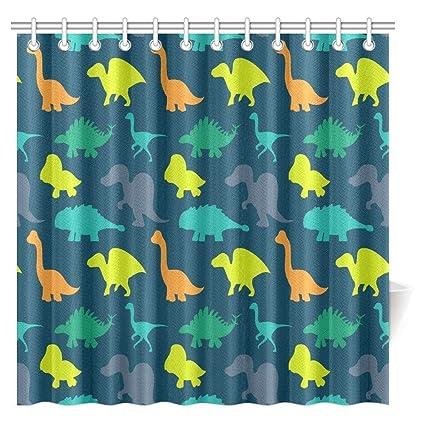 InterestPrint Dinosaur Shower Curtain Jurassic Archaeological Historical Monster Wild Creature Cartoon Children Image Fabric Bathroom