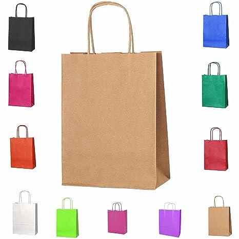 10 trenzado asas papel parte bolsas de regalo Kraft bolsas ...