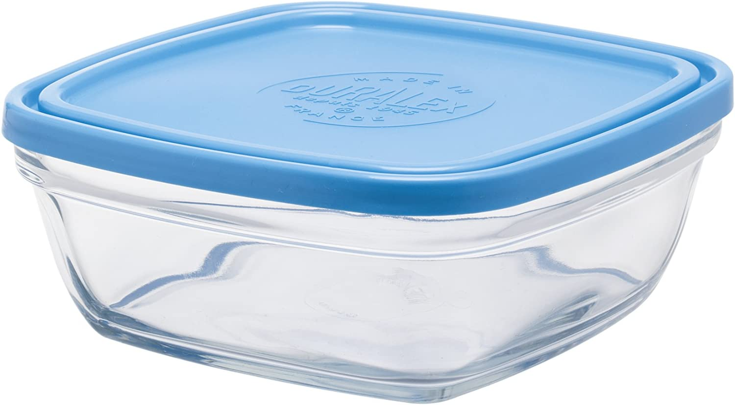Duralex Made In France Lys Square Bowl with Lid, 40-Ounce