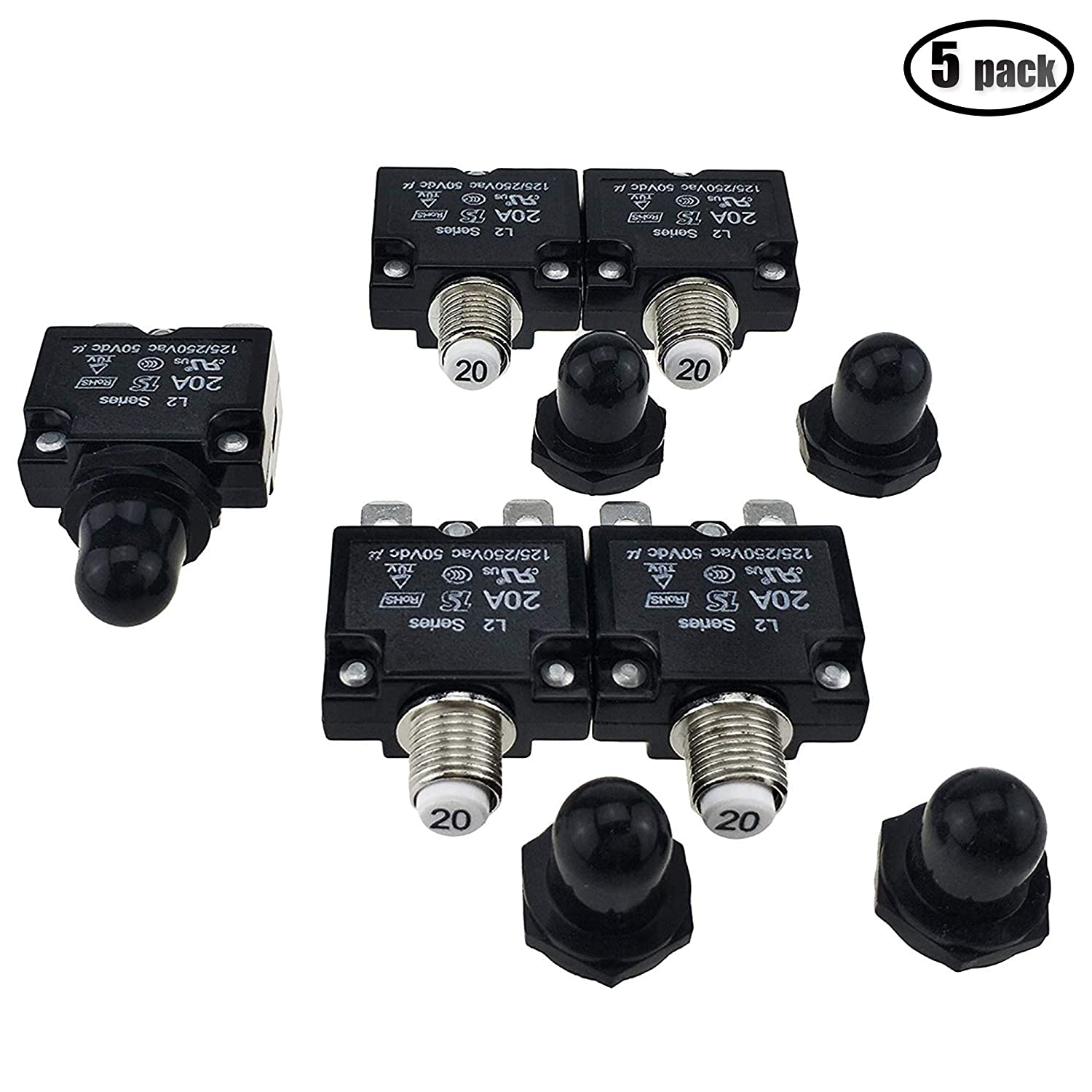 IZTOR 5PCS Push Button Reset 20A Circuit Breakers with Quick Connect Terminals and Waterproof Button Black Cap