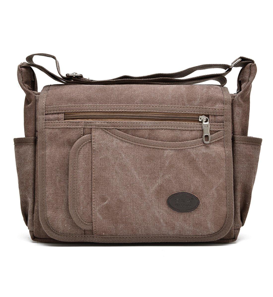 Degohome Messenger Bag Vintage Retro Canvas Business shoulder bag Crossbody Travel Bag (Normal size, coffee)