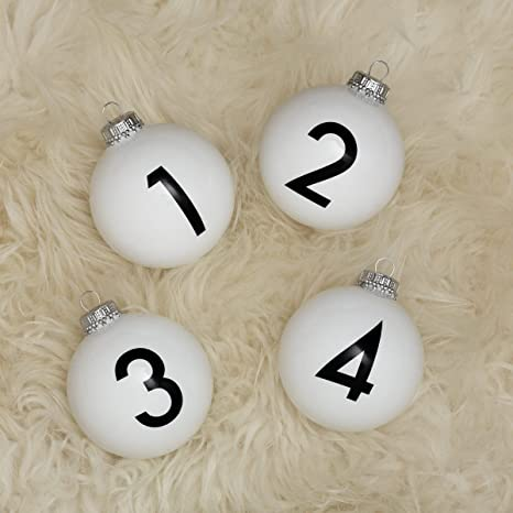 corpus delicti: Diseño de Árbol de Navidad (Juego de 4) de Cristal con los números 1 – 4 para la Corona de Adviento y árbol de Navidad/Bolas de Navidad Numbers: Amazon.es: Juguetes