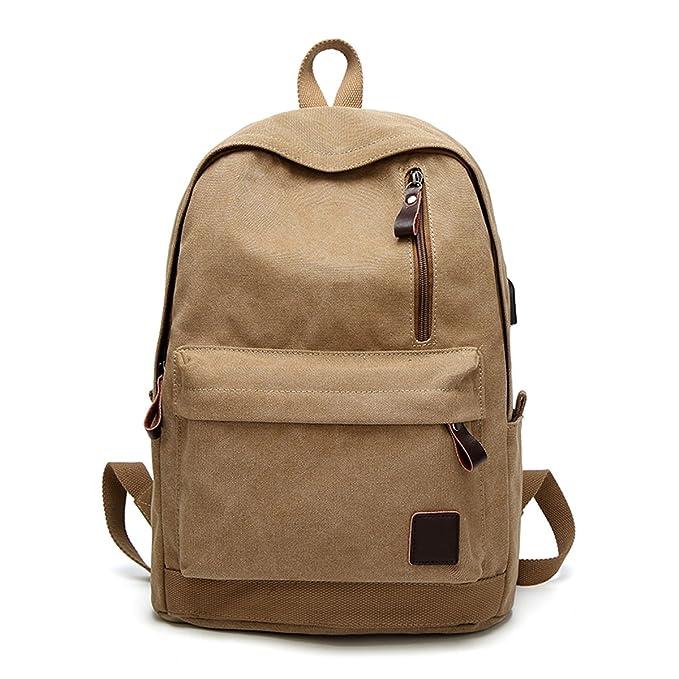 Gracosy Mochila escolar Canvas con puerto de carga USB, mochilas universitarias de 15.9 pulgadas, mochila informal Mochilas escolares Mochila ligera de ...