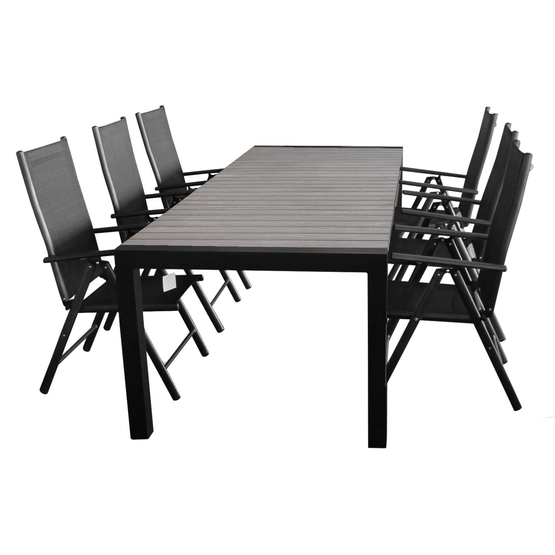 7tlg. Gartengarnitur Ausziehtisch 205/275x100cm + 6x Hochlehner 7 Pos. 2x2 Textilen Sitzgruppe Sitzgarnitur