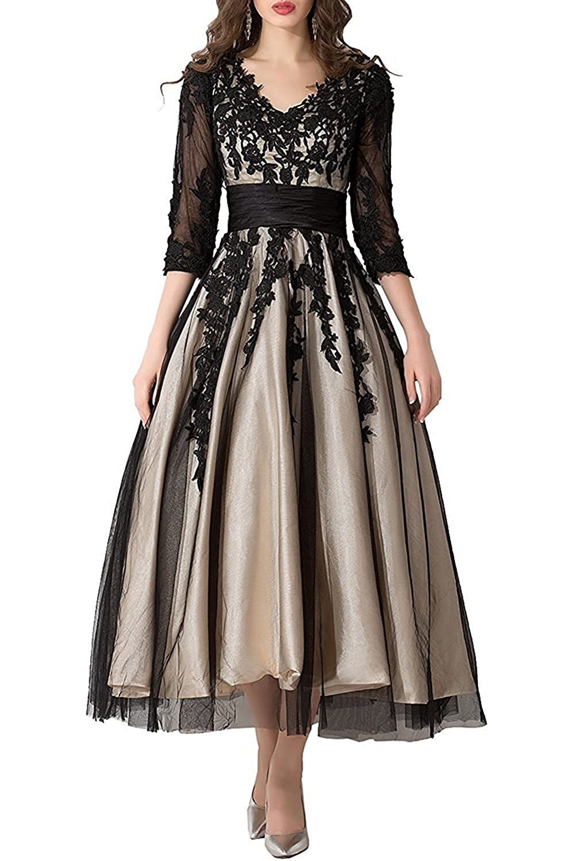 Zechun Womens Lace Applique Tea Length Sleeves Wedding Dress Prom