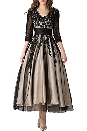 Zechun Women s Lace Applique Tea-Length Sleeves Wedding Dress Prom Gowns at Amazon  Women s Clothing store  42fa3511c8