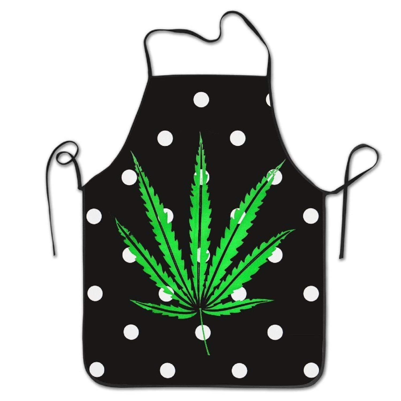 amiuhoun Marijuana Weedフレッシュリーフ面白いレディースメンズ面白いクリエイティブ印刷料理エプロン   B07FNRHDNV