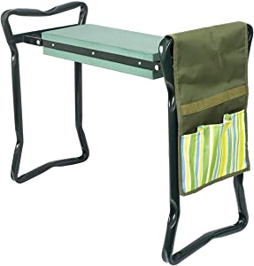 Garden Kneeler and Seat with Bonus Tool Pouch, Foldable for Easy Storage, EVA Foam Pad