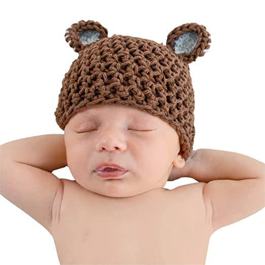 Melondipity s Brown and Blue Sugar Bear Beanie (0-6 month). Roll over image  to zoom in. Melondipity Baby Hats 3186e6672dea
