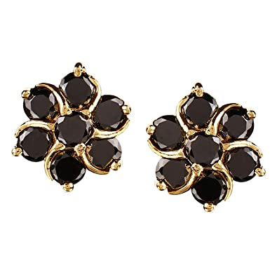 102ef081a Swasti Jewels Gold Plated CZ Zircon Stud Earrings for Girls and Women BLACK  01