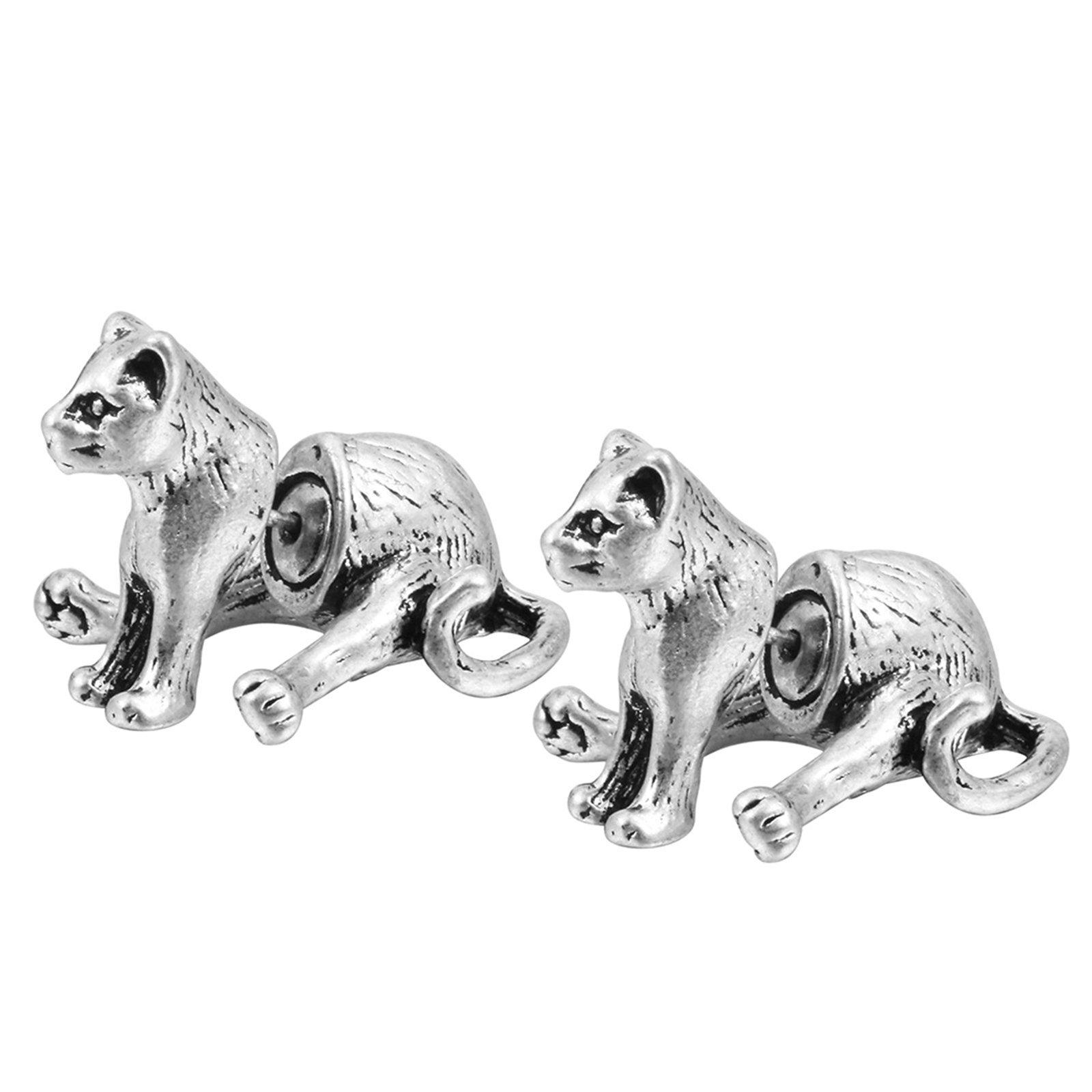 Beydodo Silver Plated 3D Earrings Piercing Animal Earrings Stud Vintage Bear Earrings for Men Women