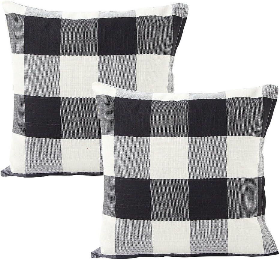 "Foucome 18"" Home Cotton Linen Car Bed Sofa Pillow Case Farmhouse Tartan Plaid Waist Cushion Cover,Set of 2, Black/White"