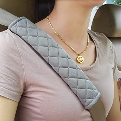 MIKAFEN Universal Car Seatbelt Pads Cover,Seat Belt Shoulder Strap Covers Harness Pad Car/Bag,Soft Comfort Helps Protect You Neck Shoulder from The Seat Belt Rubbing Gray (2-Pack): Automotive [5Bkhe0105099]