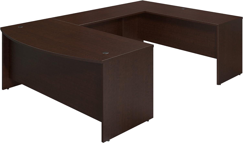 Bush Business Furniture Series C Elite 72W x 36D Bowfront U Station Desk Shell in Mocha Cherry