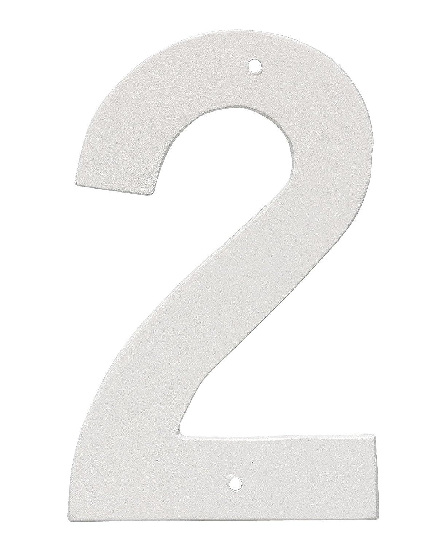 "Montague Metal Products 6"" Aluminum House Number 2 Outdoor Plaque, Medium, White"