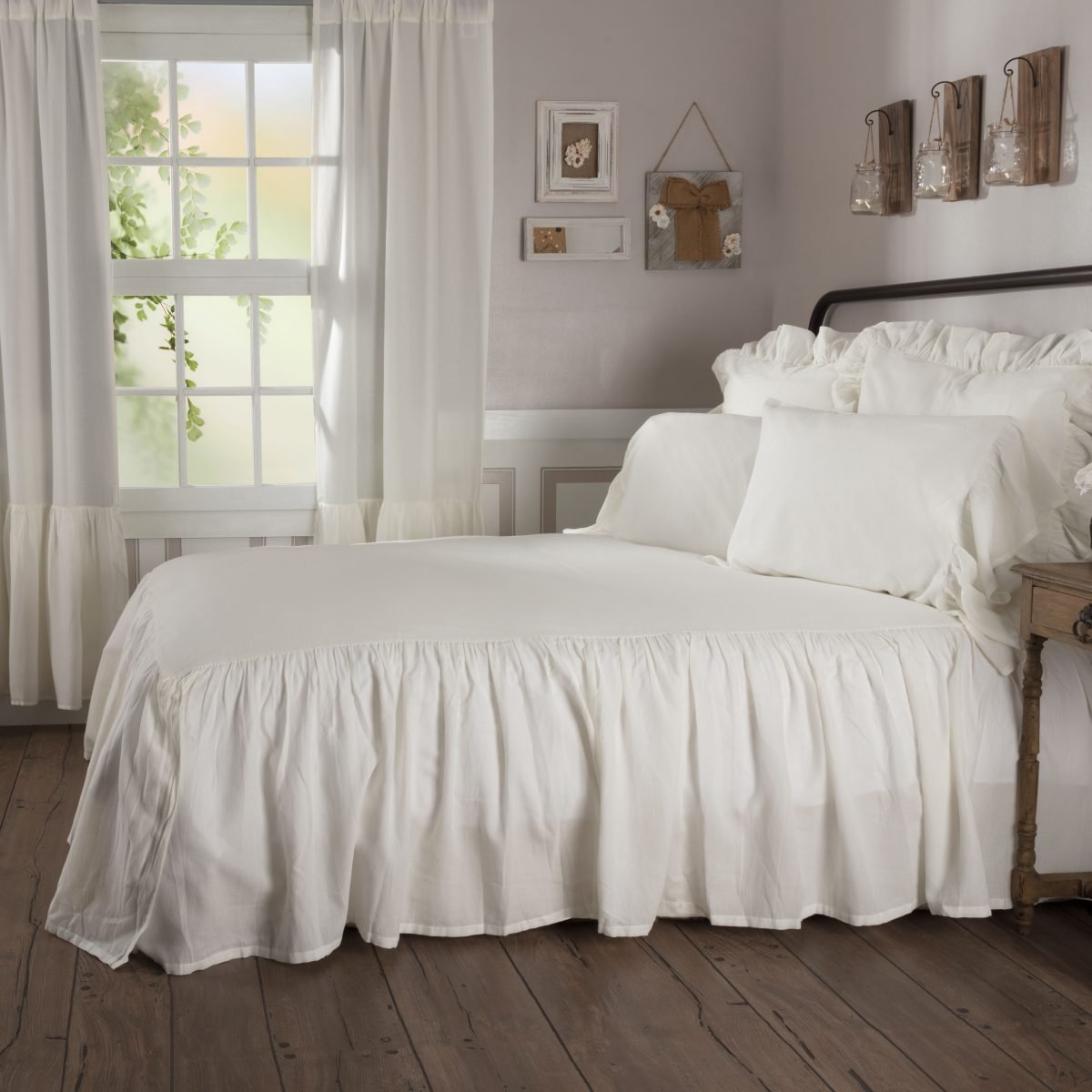 Piper Classics Sophia Ruffled Bedspread, KIng Size, HIgh Skirt on 3 Sides, Antique White, Lightweight, Farmhouse Style Bedding