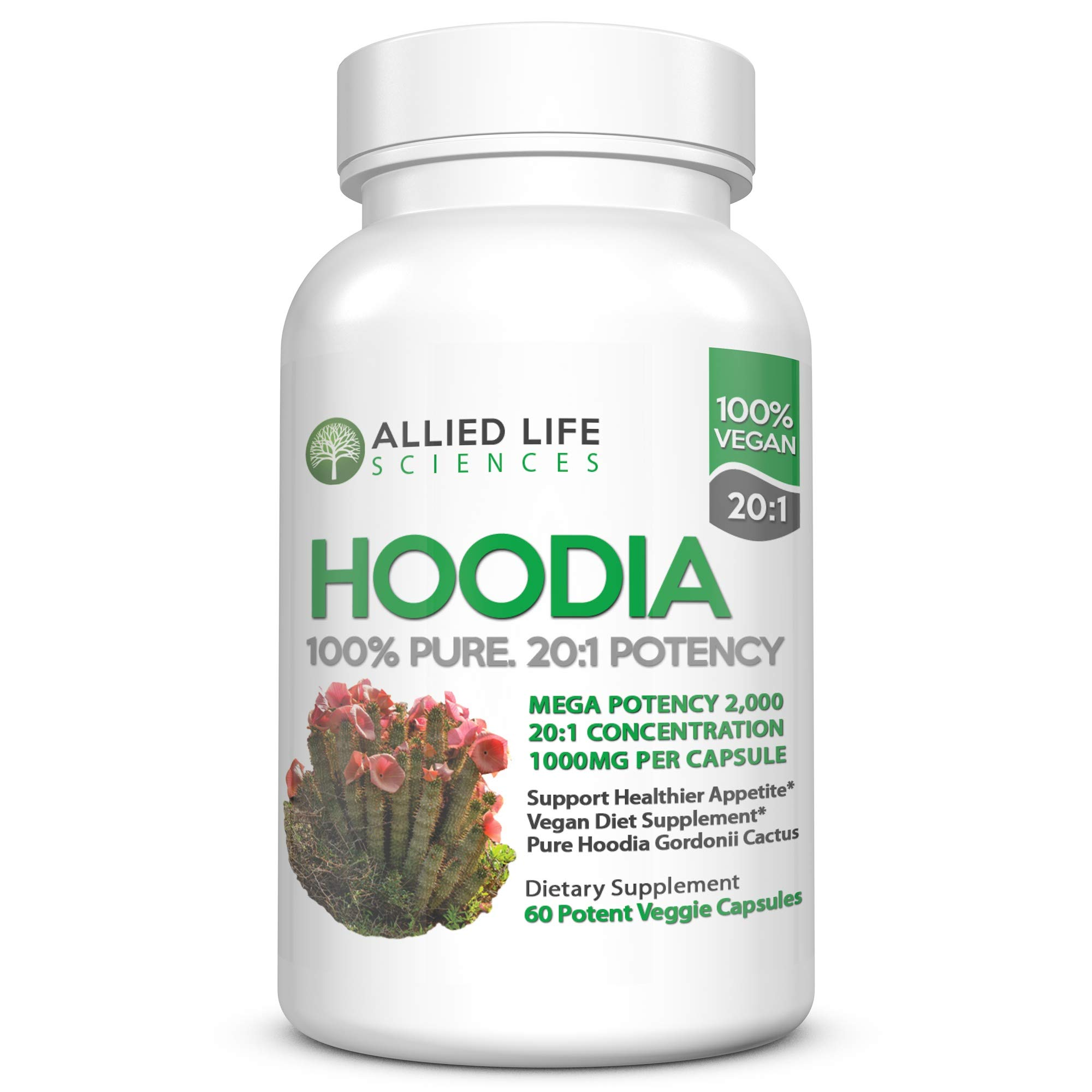 Hoodia Gordonii - Natural Vegan Appetite Suppressant Pills. 20:1 Potency is 20X Stronger Than Raw Hoodia. Stimulant Free Unlike Most Diet Pills & Weight Loss Products by Allied Life