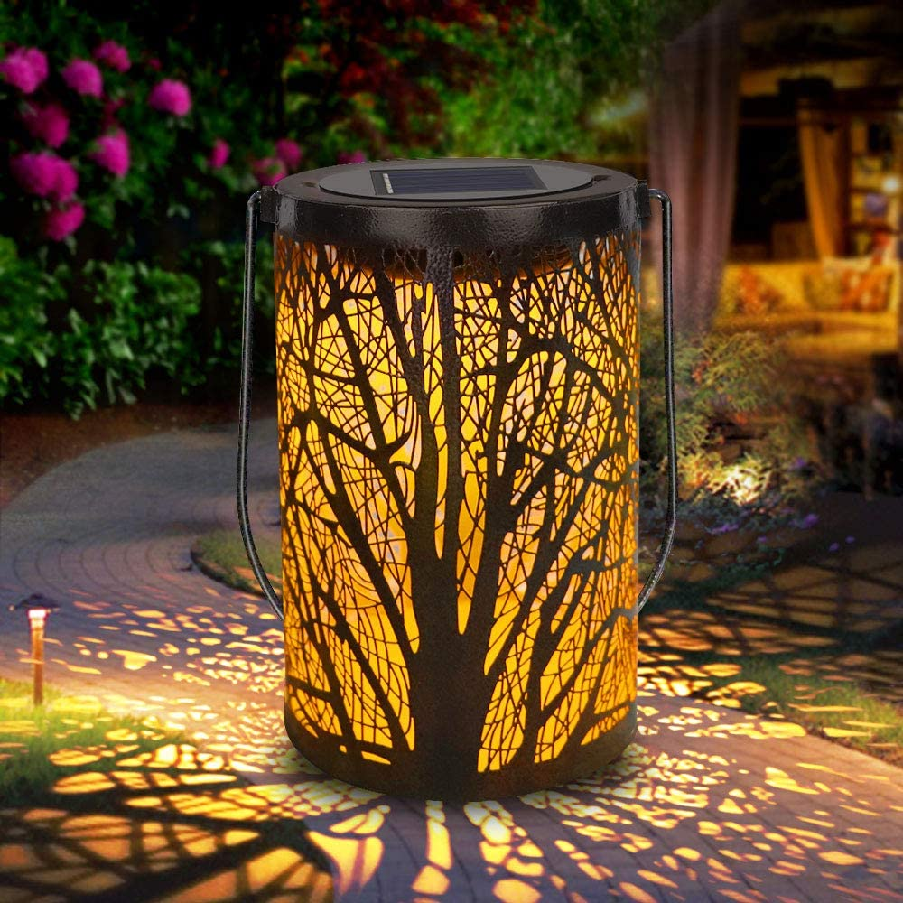 Solar Lantern Outdoor Lights for Decorative Atmosphere Hanging Garden Lantern Cylindrical Table Lamp Night Light Warm Lighting for Courtyard, Party, Walkway,Terrace, Garden, Lawn (1 Pack)