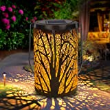 Solar Lantern Outdoor Lights for Decorative Atmosphere Hanging Garden Lantern Cylindrical Table Lamp Night Light Warm…