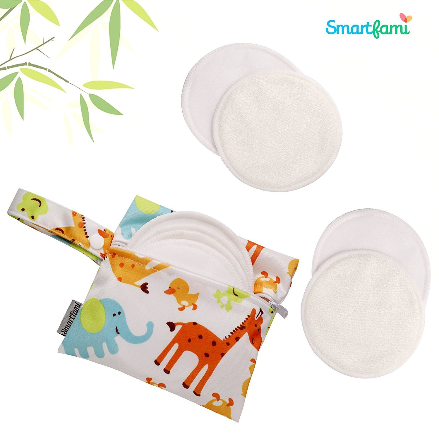 Best Washable Organic Bamboo Nursing Pads 8 Pack with Laundry and Cloth Bag by SmartFami,Reusable Breast Pads,Ultra Soft,Waterproof,Leakproof Bra Pads,Absorbent,Hypoallergenic,Breastfeeding Pads