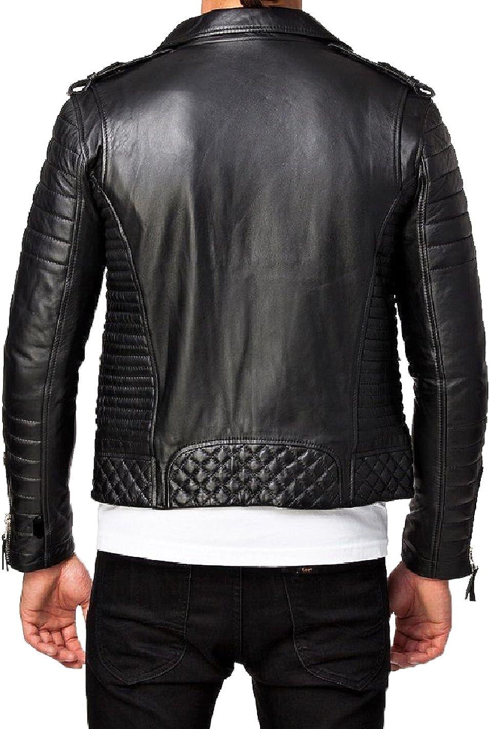New Men Designer Genuine Lambskin Soft Biker Leather Jacket T1063