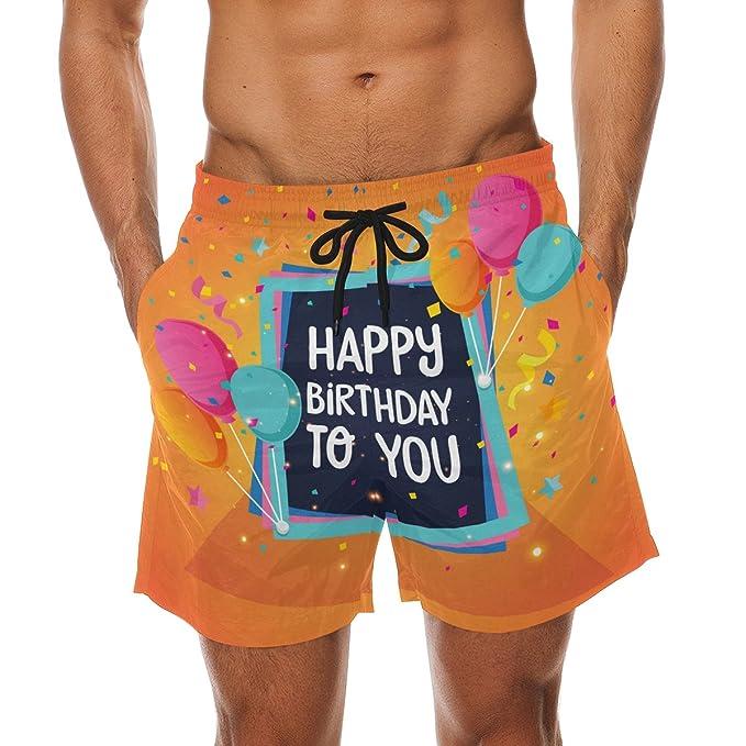 DEYYA Happy Birthday Summer Beach Shorts Pants Mens Swim Trunks