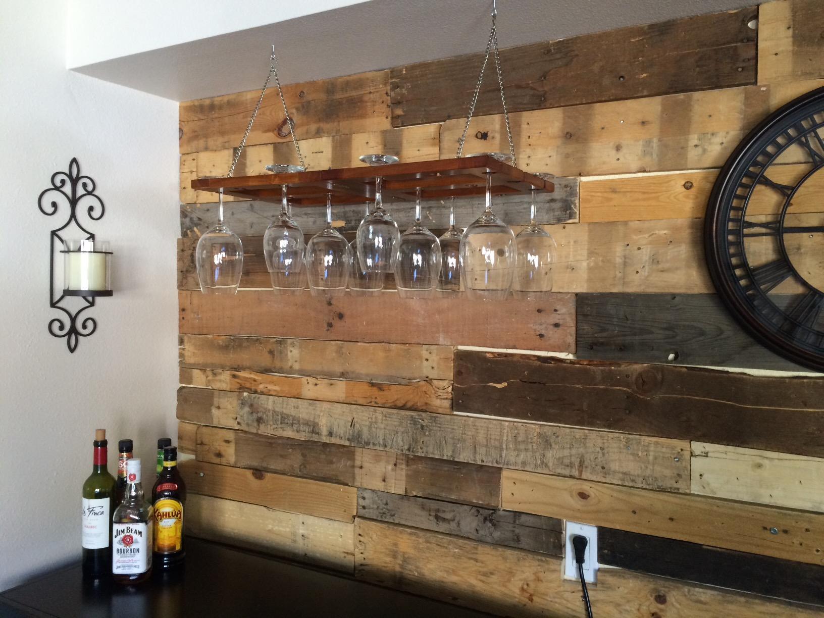 Hanging Wine Glass Rack Ceiling Mount Stemware Bottle Holder Solid