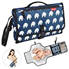 Portable Diaper Changing Pad Built-in Memory Foam Cushion Pillow Detachable and Waterproof Baby Travel Changing Station Mesh and Zippered Pockets for Diapers Wipes and Creams-Cute Elephant