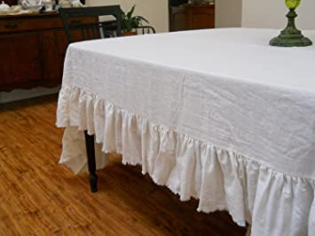 Lovely Off White Linen Table Cloth (With Frayed Ruffle)
