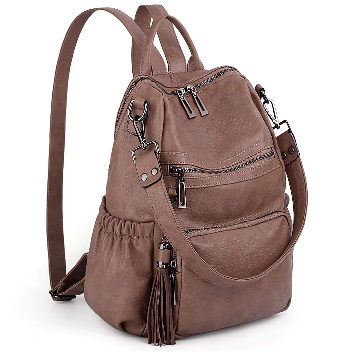 UTO Women Backpack Purse PU Washed Leather Convertible Ladies Rucksack Tassel Zipper Pocket Shoulder Bag Khaki by UTO