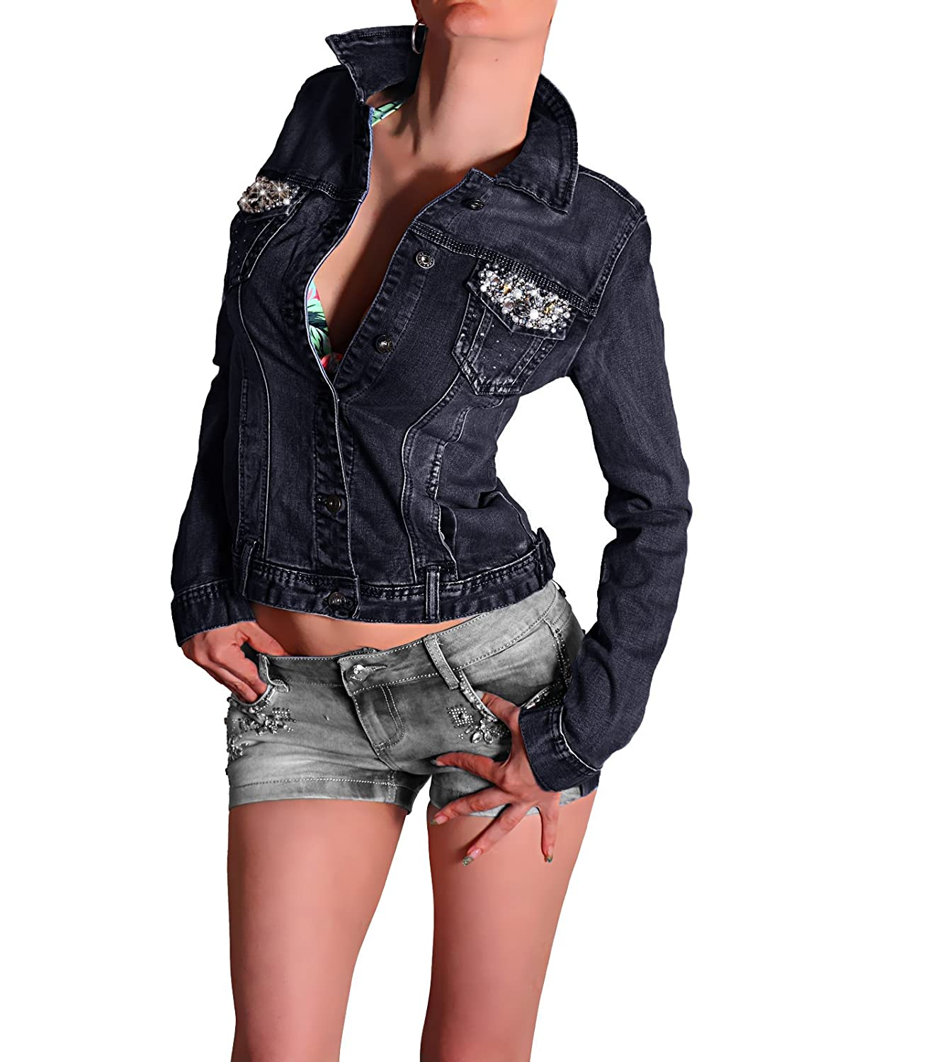 Destroyed Jeansjacke WOW Denim Jacke PUSH UP Exclusive Straß Schwarz-Blau
