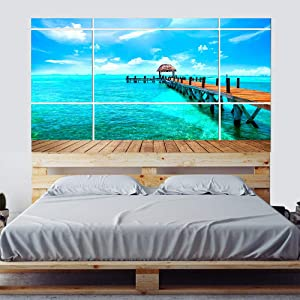 MISSSIXITY Headboard Sticker Wall Decal Mural Peel and Stick Self-Adhesive Vinyl Wall Stickers Wallpaper Art Decor for Home Bedroom Dorm Decoration, 35.43