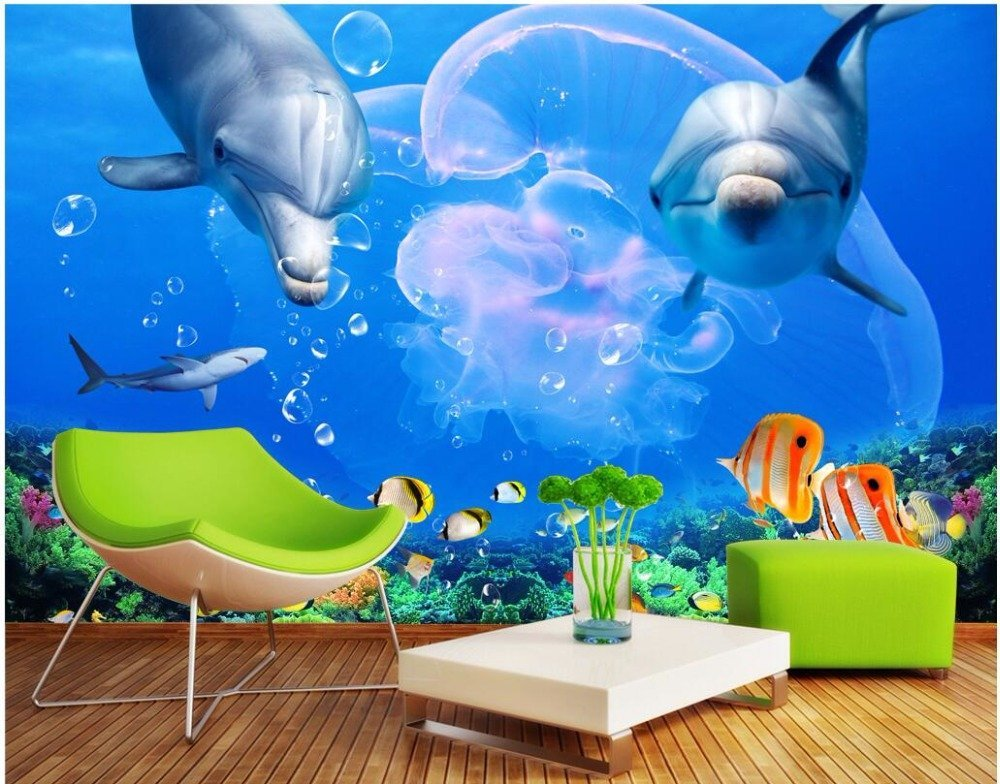 Mbwlkj Wallpaper 3D Wallpaper Cloth Chinese Silk Custom Photo Mural Dolphin Great White Shark Underwater World Home Improvement 3D Print Fabric-300Cmx210Cm