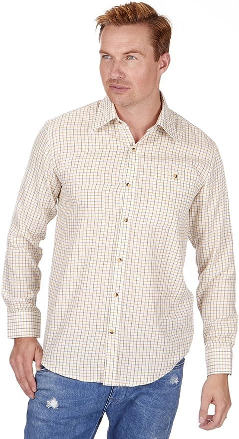 Baum Country Hombre Tattersall Camisa De Cuadros Manga Larga - Crema, L: Amazon.es: Ropa y accesorios
