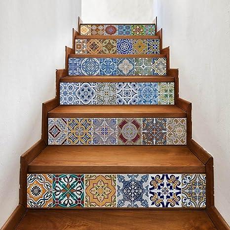 vibola 6 piezas/juego creativo DIY 3d escalera adhesivos de cerámica azulejos patrón pegatina de pared para casa escaleras decoración gran escalera: Amazon.es: Juguetes y juegos