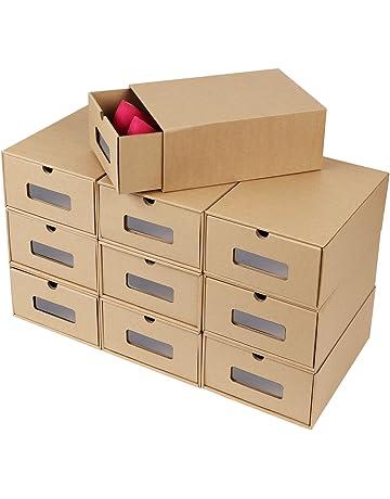 FEMOR 10 Cajas de Zapatos Zapatero Cajón Transparente Plegable Apilable Caja Guardar Zapatos Hechas de Papel