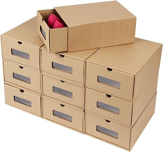 FEMOR 10 Cajas de Zapatos Zapatero Cajón Transparente Plegable ...