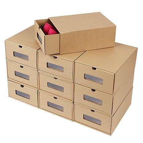 FEMOR 10 Cajas de Zapatos Zapatero Cajón Transparente Plegable Apilable Caja Guardar Zapatos Hechas de Papel Favorable al Medio Ambiente