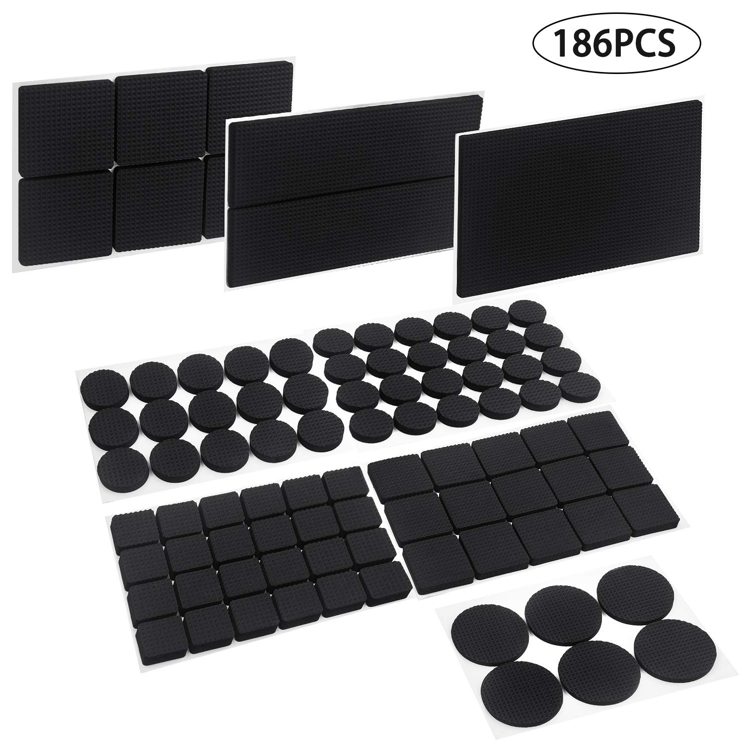 Furniture Pad,QcoQce Non Slip Skip Furniture Gripper,Rubber Feet Round Square Rectangle 186-Pieces Self-Adhesive Heavy Duty Pads and Hardwood Floor Protectors for Anti-Scratch