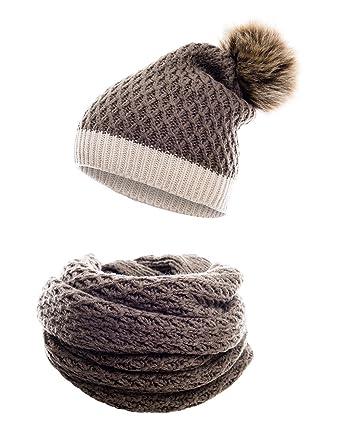 d7d98b73b83f7d Hilltop Winter Kombi Set aus Winter Schal und passender Strickmütze/Beanie  mit Pompon/versch
