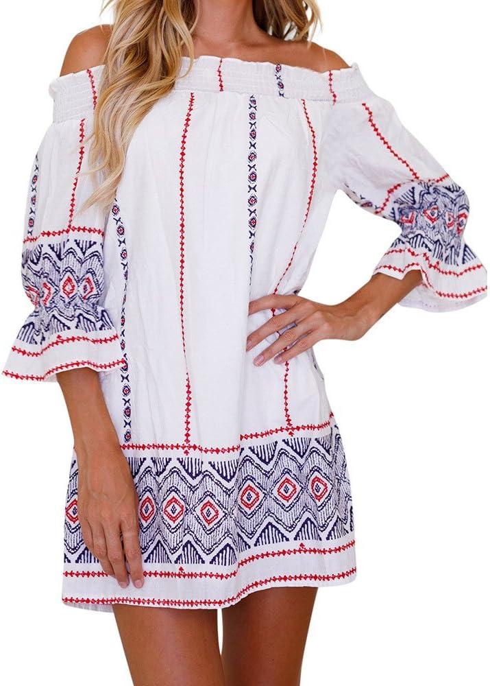 Vestidos Playa Mujer Verano Corto Vestido Mujer Elegante Slash Cuello Vestido de Playa Casual Vestir Ropa Cordón Geométrico Impresión Vestidos de Camisa túnica para Mujeres (S, Negro): Amazon.es: Ropa y accesorios