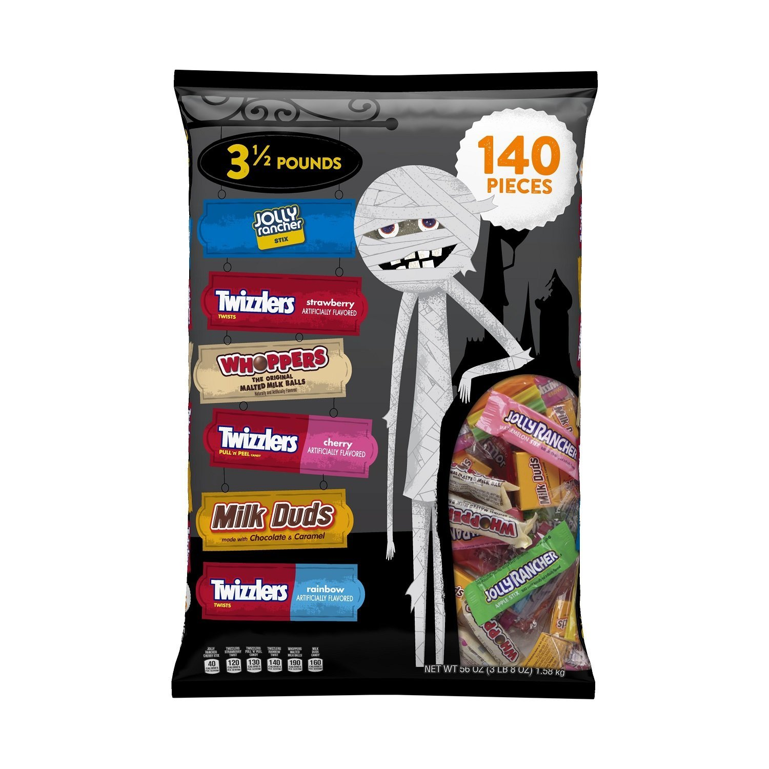 Hershey Halloween Snack Size, Candy Assortment (TWIZZLERS, JOLLY RANCHER, MILK DUDS, WHOPPERS Candy), 56 Ounce Bag (140 Pieces)