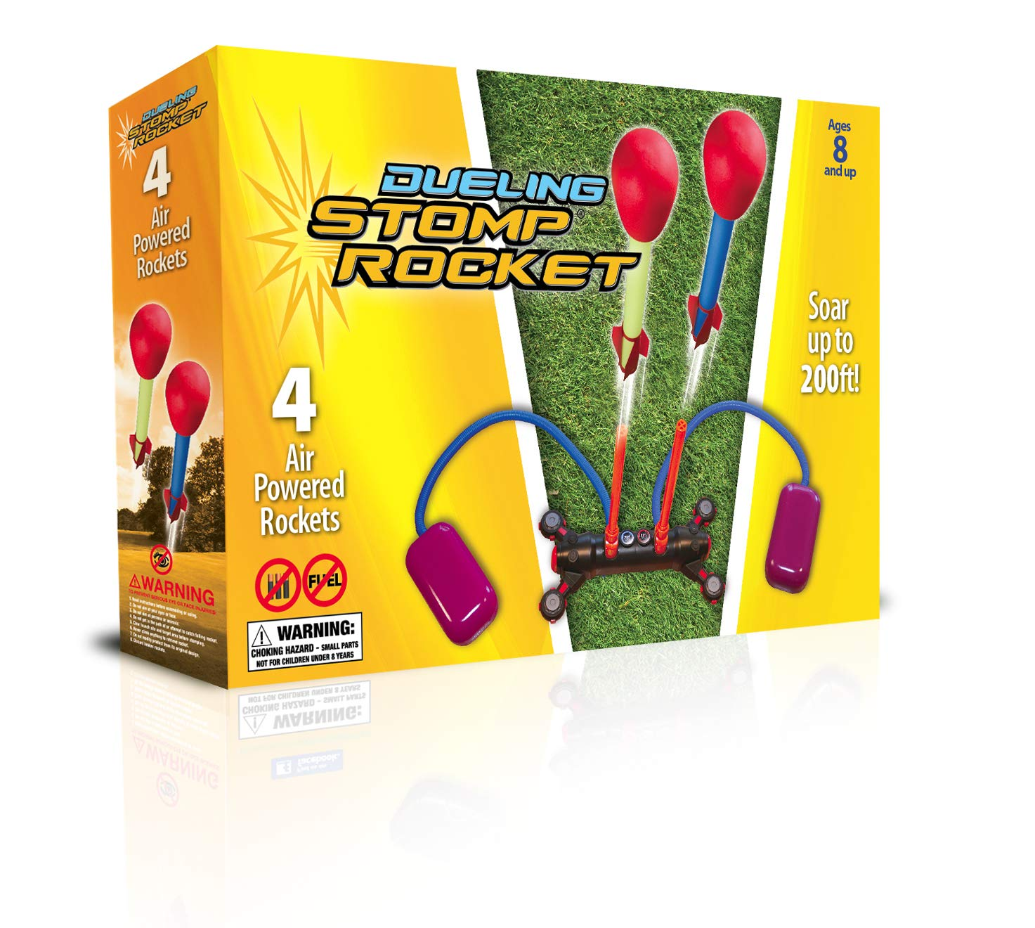 Stomp Rocket Dueling Rockets, 4 Rockets and Rocket Launcher - Outdoor Rocket Toy Gift for Boys and Girls Ages 6 Years and Up - Great for Outdoor Play with Friends in The Backyard and Parks by Stomp Rocket