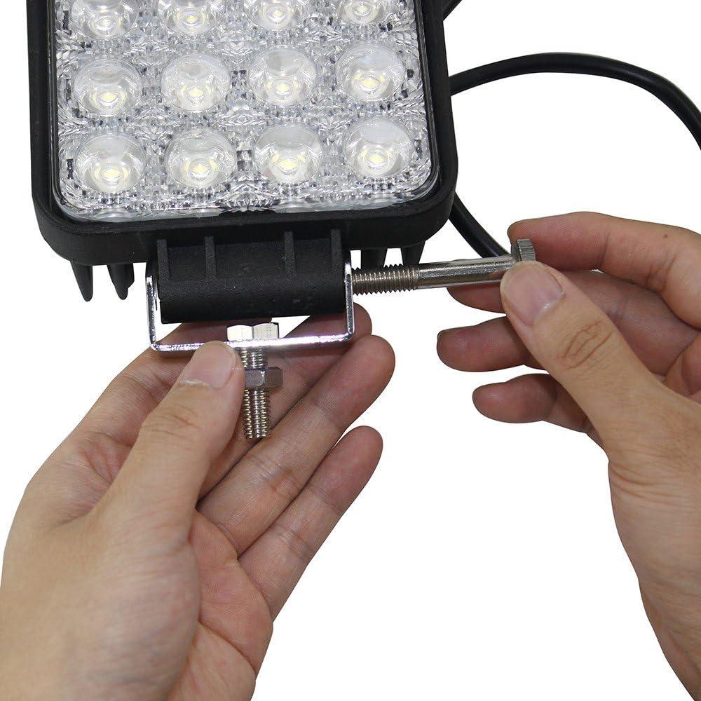 48W LED Arbeitsscheinwerfer Zusatzscheinwerfer 4inch f/ür Traktor Bagger offroad SUV ATV UTE UTV 12V 24V 4 St/ück