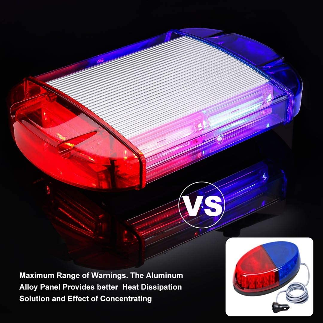108W Red/&Blue 126 LED Strobe-Warning-Lights-Bar 12V Rotation Flashing Beacon Emergency Light Mini Bar for Trucks Vehicles