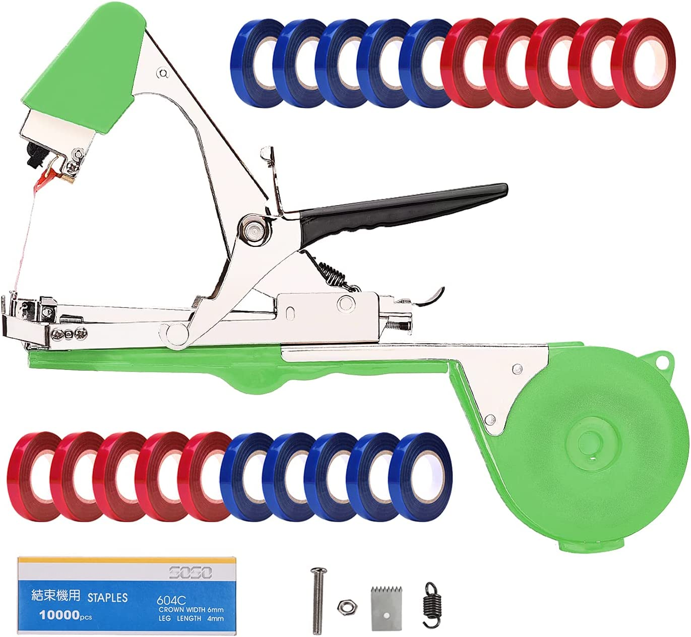 DrRobor Plant Tying Machine Tomato Tape Tool Tapener Fruit Twine Tool with 21 Rolls of Tape and 1 Box of Staple for Garden Vegetable Grape Cucumber Pepper