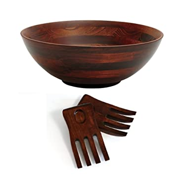 Lipper International 274-3 Cherry Finished Footed Serving Bowl with 2 Salad Hands, Large, 13.75  Diameter x 5  Height, 3-Piece Set